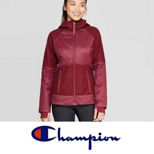 Champion mulberry quilted hoodie jacket small